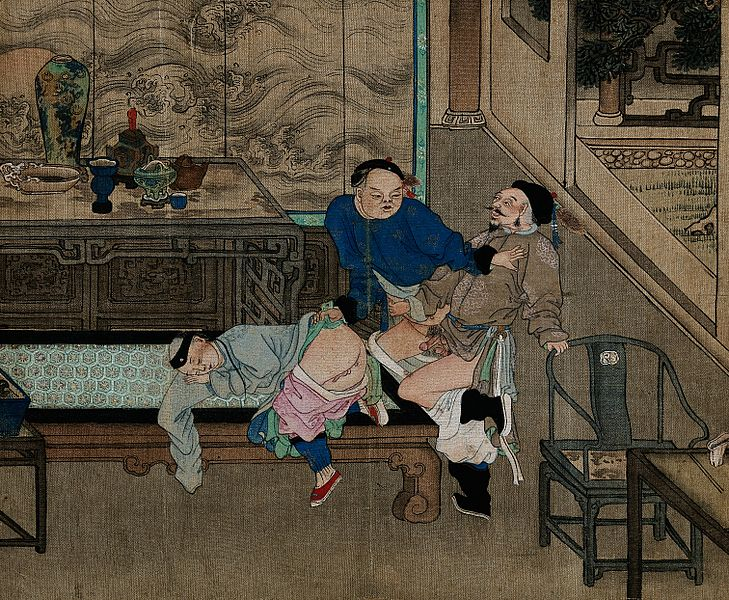File:Two men fighting to be the first to penetrate a sleeping boy Wellcome V0047307.jpg