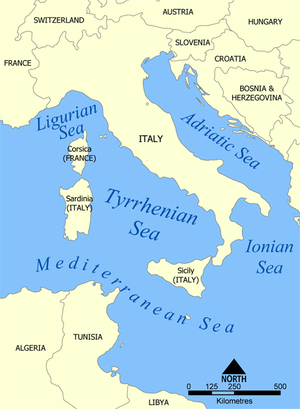 1343 Naples earthquake - Tyrrhenian Sea.