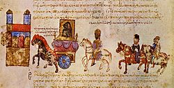 Medieval manuscript showing a procession of a carriage surmounted by an icon, followed by a crowned man on a white horse and two other horsemen