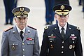 U.S. Army Gen. Martin E. Dempsey, chairman of the Joint Chiefs of Staff, escorts Moroccan Inspector General of the Armed Forces Gen. Bouchaib Arroub through an honor cordon at the Pentagon 141113-D-KC128-097a.jpg