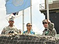 U.S. Army Pacific Commander Gen. Vincent K. Brooks, left, Dr. Carol P. Brooks and U.N. Command Security Battalion Commander Lt. Col. Daniel Edwan visit Observation Post Ouellette in Panmunjom, South Korea 130806-A-ZZ999-001.jpg