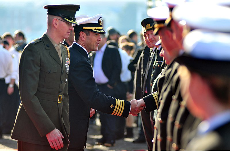 file u s  navy capt  craig clapperton  center  the commanding officer of the amphibious command