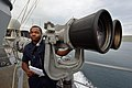 U.S. Navy Intelligence Specialist Seaman Ronald Freeman observes outbound civilian merchant traffic aboard the guided missile destroyer USS Ross (DDG 71) in the Dardanelles en route to the Black Sea Sept 140903-N-IY142-059.jpg