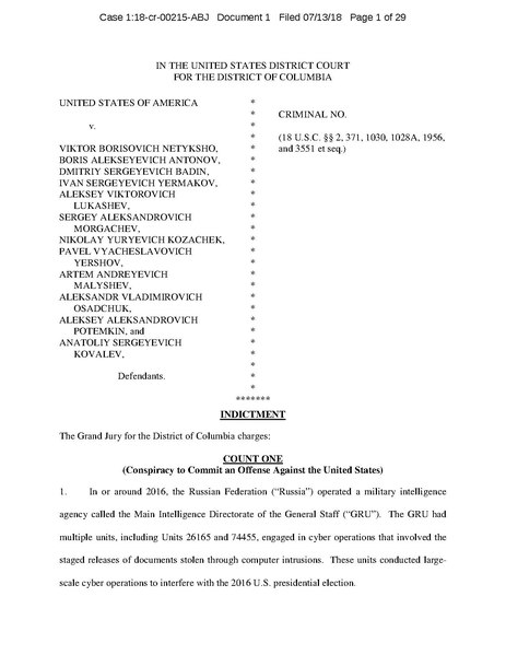 File:U.S. v. Viktor Borisovich Netyksho, et al, Indictment.pdf