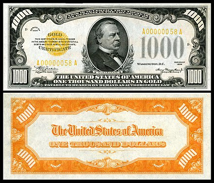 $1000 Gold Certificate (1934) depicting Grover Cleveland US-$1000-GC-1934-Fr.2409.jpg