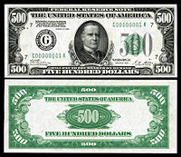 $500 Federal Reserve Note, Series 1928, Fr.2200g, depicting William McKinley.
