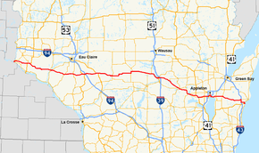US Route In Wisconsin Wikipedia - Wisconsin road map usa