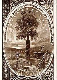 Dakota Territory coat of arms from the reverse of the National Bank Note Series 1882BB