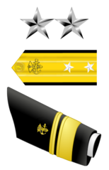 The star and shoulder boards of a US Public Health Service two-star, rear admiral