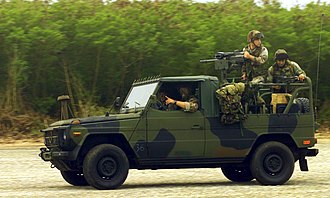 Interim Fast Attack Vehicle - Marines from Weapons Company (WC), 2nd Battalion, 4th Marine Regiment race their Mercedes Interim Fast Attack Vehicle (IFAV) along the North Field, on Tinian Island, in support of Exercise Tandem Thrust 2003.
