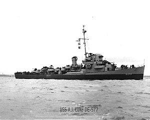 USS Alexander J. Luke (DE-577) underway, circa in 1944