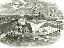 Engraving of Monitor sinking with rescue vessel in back ground