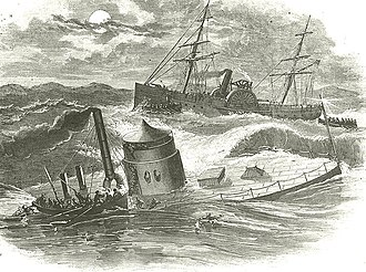 Battle of Hampton Roads - Engraving of Monitor sinking
