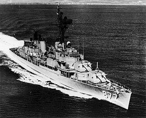 USS Perkins (DD-877), underway following her FRAM II modernization, c. the mid-1960s.