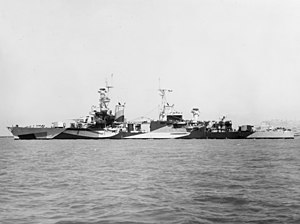 USS Portland (CA-33) - Portland wearing Camouflage Measure 32, Design 7D in 1944.