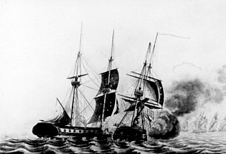 Capture of HMS Frolic - USS Wasp captures HMS Frolic - Drawing and engraving by F. Kearny, based on sketch by Lieutenant Claxton