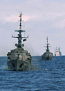 US Navy 050712-N-4374S-005 The Ecuadorian Navy corvette BAE Manabi (CM 12) underway in front of a formation during UNITAS 46-05 Pacific Phase.jpg