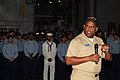 US Navy 060407-N-4772B-083 Commander, Amphibious Force, 7th Fleet, Rear Adm. Victor Guillory address the crew of the amphibious dock landing ship USS Harpers Ferry (LSD 49).jpg