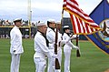 US Navy 070322-N-5324D-001 Members of Navy Operational Support Center (NOSC) Phoenix present colors prior to a pre-season baseball game between the Chicago Cubs and San Diego Padres at Peoria Sports Complex.jpg