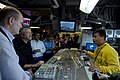 US Navy 081021-N-3610L-290 Lt. Ivan Borja, a flight deck officer aboard the Nimitz-class aircraft carrier USS Ronald Reagan (CVN 76), demonstrates how flight deck control utilizes the Ouija board to keep track of aircraft on th.jpg