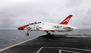 McDonnell Douglas T-45 Goshawk - Image: US Navy 100205 N 9928E 178 apt. Joseph W. Kuzmick, from Bremerton, Wash., commanding officer of the Nimitz class aircraft carrier USS John C. Stennis (CVN 74), launches from the ship in a T 45C Goshawk