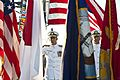 US Navy 110907-N-CZ945-058 Vice Adm. Scott R. Van Buskirk, center, and Vice Adm. Scott H. Swift salute as the color guard parades the colors at the.jpg