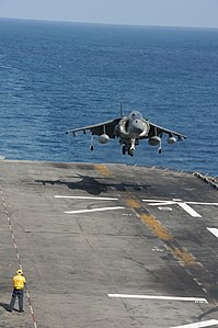 US Navy 120129-N-JO908-022 An AV-8B Harrier, assigned to the 11th Marine Expeditionary Unit (11th MEU) aviation combat element Marine Medium Helico.jpg