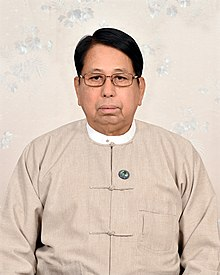 Union Minister of Information Myanmar Dr Pe Myint in Myanmar Dress.jpg
