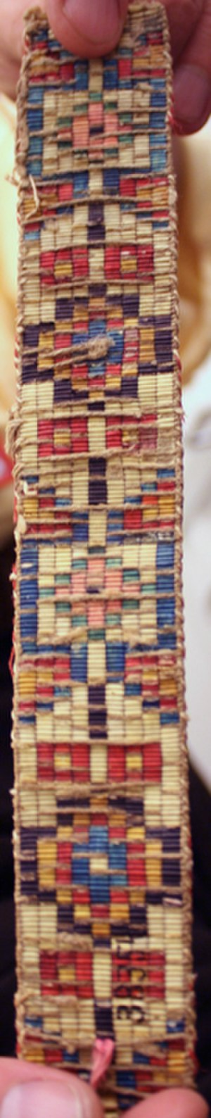 Quillwork - Backside of loomed quillwork collected from an Upper Missouri tribe by the Lewis and Clark Expedition, pre-1804. All natural dyes. Collection of the University of Pennsylvania Museum