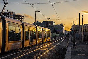 Transport in Dublin - Sunset on the LUAS trams