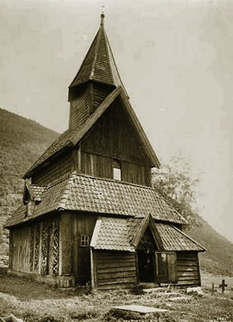 Heathen hof - View of Urnes stave church by Axel Lindahl, 1880s, with the ancient portal in the north wall