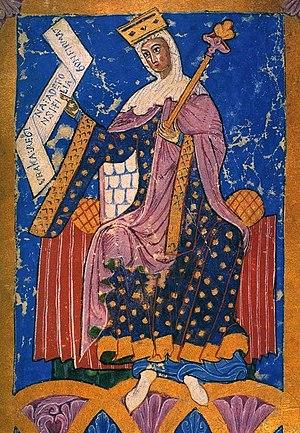 Urraca of León - 13-century miniature of Queen Urraca presiding the Court from Tumbo A codex Santiago de Compostela Cathedral