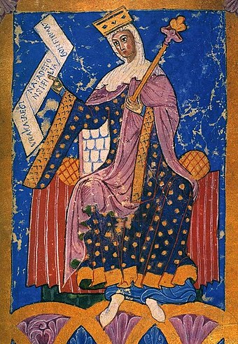 Queen Urraca ruled Galicia with her husband, Raymond of Burgundy, until the death of her father Alfonso VI. Medieval portrait, Tumbo A chartulary of the Cathedral of Santiago de Compostela UrracaRegina TumboA.jpg