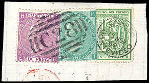 """Coded postal obliterators - British stamps with a """"C28"""" postmark of Montevideo, Uruguay"""