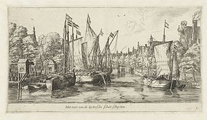 Beurtvaart - Some beurtships in the Singel in Amsterdam, around 1570