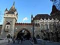 Vajdahunyad castle, bridge and gate, 2013 Budapest (348) (13227723675).jpg