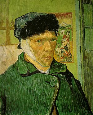 Cultural depictions of Vincent van Gogh - Self-portrait with Bandaged Ear, Easel and Japanese Print, January 1889 Oil on canvas, 60 × 49 cm Courtauld Institute Galleries, London (F527)