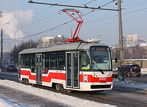 VarioLF tram under 2400 nember on 17 route in Moscow.jpg