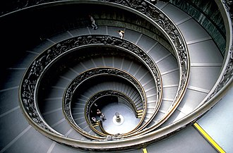 Bramante Staircase - The modern 'Bramante' staircase, showing the two access points at the bottom of the stairs