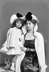 Victoria Melita Grand Duchess of Hesse with her daughter Princess Elisabeth 1898.jpg