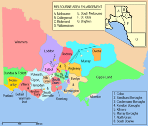 Electoral districts of Victoria - Image: Victorian Legislative Assembly districts 1856 1859