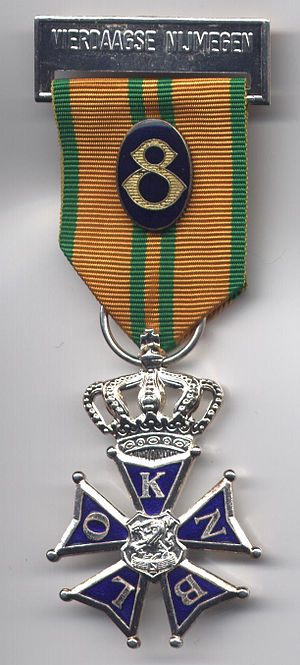 Cross for the Four Day Marches -  Silver cross with crown, awarded for sixth march, with ribbon number for eighth march