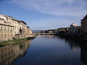 Arno - Image: View From the Ponte Vecchio of the River Arno