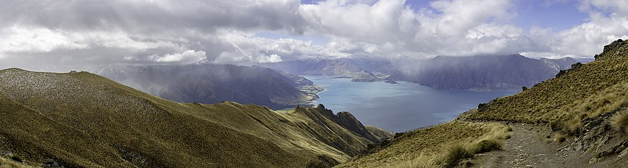 View from Isthmus Peak Trail to Lake Hawea, New Zealand