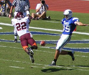 Punt (gridiron football) - The 2007 Virginia Tech Hokies football team blocks a punt against the Duke Blue Devils