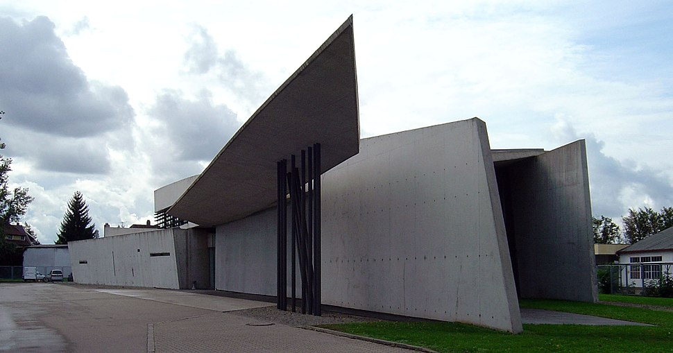 Vitra fire station, full view, Zaha Hadid