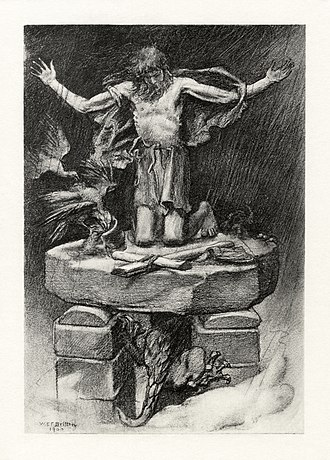 William Edward Frank Britten - A 1901 photogravure illustration by W. E. F. Britten for Alfred Tennyson's poem St. Simeon Stylites, based on Simeon Stylites, the first of the pillar saints.