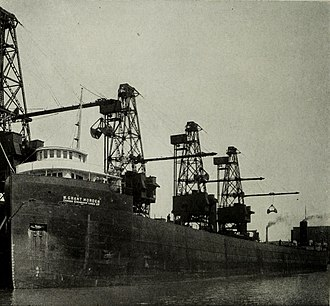 """Western Dry Dock and Shipbuilding Company - W. Grant Morden, first Canadian ship to hold the title """"Queen of the Lakes"""", largest freighter on the Great Lakes"""