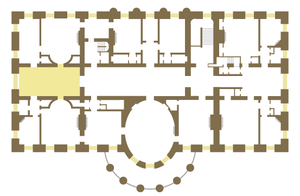 West Sitting Hall - Floor plan of the White House second floor showing location of the West Sitting Hall.