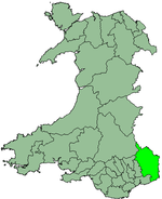 Monmouth shown within Wales